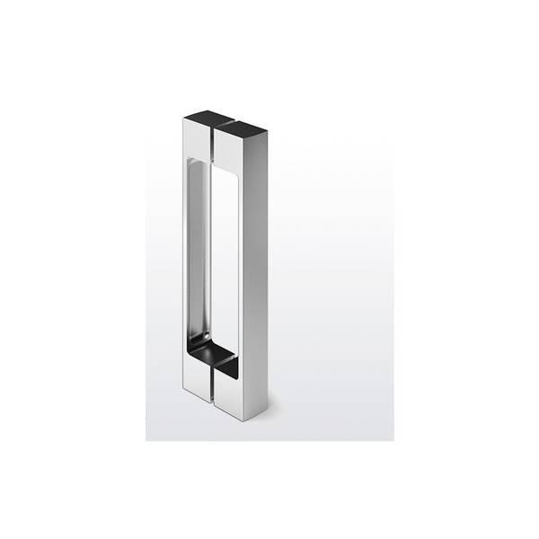 paire De grandes poignées portes claire de chrome et coupe en verre de style antique